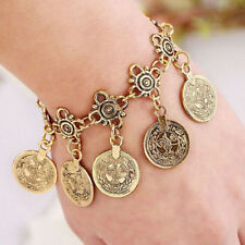 Women Turkish Festival Jewelry Bohemian Ethnic Silver Coin Bracelet Anklet Gift
