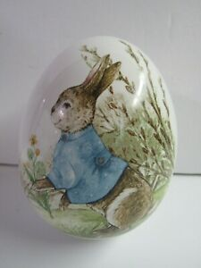 New Easter Ceramic Egg With Bunny In Blue Jacket 2392350