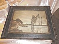 ANTIQUE HARP OF THE WINDS  PRINT ON BOARD BY HOMER DODGE MARTIN IN WOOD FRAME