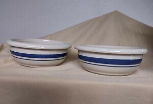 2 lot set Roseville OH Friendship Pottery Blue Stripe Soup Cereal Baker Bowls