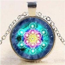 Metatron Art Photo Cube Cabochon Glass Tibet Pendant Silver Chain Necklace AU-1