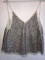 SILVER SEQUIN BEADED CAMI SPARKLY XMAS 8 SUMMER CLUB PARTY CELEB GLAM STRAPPY