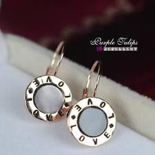 """Black """"Love"""" Dangle Hoop Earrings 18Ct Rose Gold Plated Elegant"""