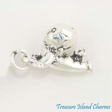 CRAWLING KEWPIE-LIKE BABY DOLL 3D .925 Solid Sterling Silver Charm MADE IN USA