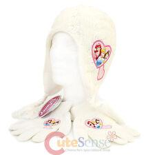 Disney Princess Beanie Gloves Set Knitted Laplander Hat Toddler -White