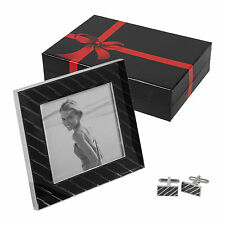 Black & Silver Photo Picture Frame & Matching Cufflinks, Wedding Gift Set Boxed