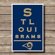 "St. Louis Rams Poster Sports NFL Football Eyechart Art Print 12x16"""