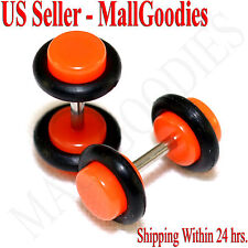 2067 Neon Orange Fake Cheater Illusion Faux Ear Plugs 16G Bar 4G = 5mm Look 2pcs