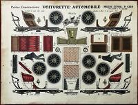 Imagerie D'Epinal No 1369 Voiturette Automobile Petites Construction France 1902