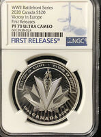 2020 Canada $20 Victory in Europe Graded NGC PR70 Ultra Cameo First Releases WW2