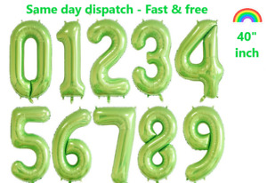 """40"""" inch Green Number Balloon Foil Air/Helium Birthday Age Party Deco GIANT SIZE"""