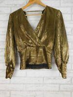 Bardot Top blouse Gold Evening Trinity pleat top Sz 8 BNWT RRP $99