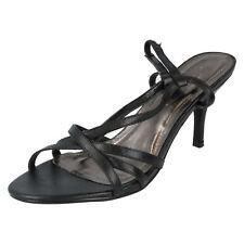 Ladies Spot on Heeled Sandals Label F1715 Black 6 UK Standard