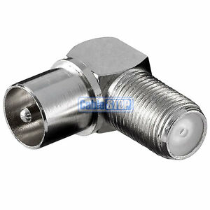 RIGHT ANGLE MALE COAX to F TYPE FEMALE SOCKET TV Aerial Sky Connector Adapter