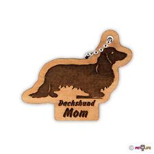 Dachshund Mom Keychain key chain keys charm Longhaired