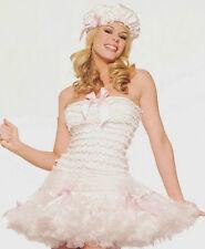 LIL BO PEEP Pink Bow Ribbon Lace Ruffle Petticoat Tutu Skirt Dress Bonnet Hat ML