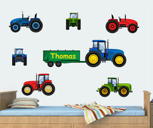 Childrens Personalised Tractors Pack Wall Vinyl Stickers Farm Digger Boys Decals
