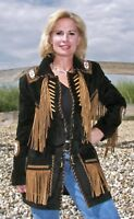 Women Black Suede Western Style Leather Jacket With Fringe