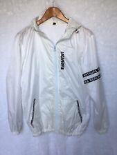 Cool Rain Jacket Sz L Sheer White Funky Lettering Unisex