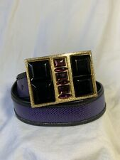 Vintage S Spencer Designs Robin leather and lizard belt rhinestones medium