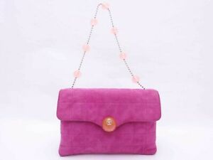 AUTHENTIC CHANEL PINK suede plastic resin CC balls small shoulder hand bag RARE