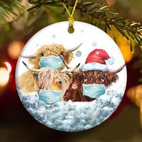 Quarantined Highland Cows Santa Hat Farmer Gift 2020 Ceramic Christmas Ornament