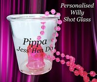 8 x personalised Hen night Party Do Willy Shot glass Glasses With Pink Necklace
