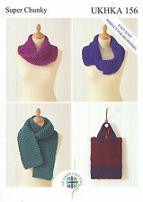 Super Chunky Knitting Pattern- Scarf, Bag and Snoods UKHKA156