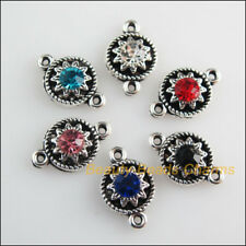 12 New Charms Mixed Crystal Flower Connectors Tibetan Silver Tone 9x14mm