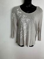 t.La Anthropologie Women's Size XL Gray Silver Long Sleeve Top Shirt Bird E130
