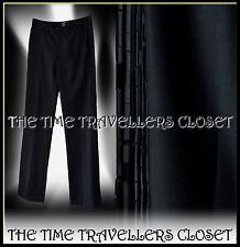 KATE MOSS TOPSHOP THICK SMART BLACK STRAIGHT DRESS TROUSERS SILK SIDE TRIM UK 8
