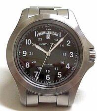 N.O.S. HAMILTON KHAKI H644510 SWISS WATCH, SAPPHIRE, WR, DATE-DAY, ST ST, QUARTZ