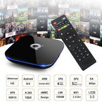 Q plus 6K 4+32G Android 9.0 Pie Smart TV Box Quad Core WIFI USB 3.0 Movies Films
