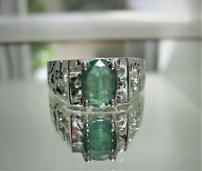 Men's Natural Emerald Gemstone Ring In 925 Sterling Silver - New Emerald Size 11