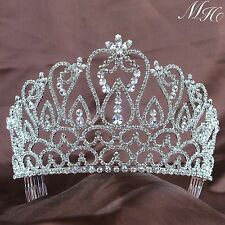 """Large Pageant Tiaras 4.25"""" Hair Combs Bridal Party Rhinestone Crystal Crown Prom"""