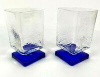 Lot of 2  Disaronno Square Cobalt Blue Footed Glasses Liqueur Cordial Bar