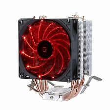 Premium Quiet CPU Cooler 4 Direct Contact Heat Pipes 92mm Red LED Fan Intel AMD.