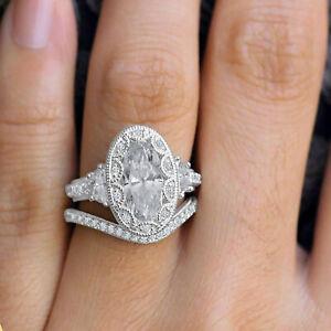 3Ct Oval Cut Diamond 14K White Gold FN Vintage Art Deco Bridal Set Wedding Ring
