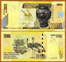 Congo D. R., 20000 (20,000) Francs, 2006 (2012), P-New, UNC   Crowned Crane
