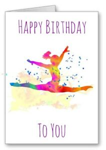 Gymnast Gymnastics Happy Birthday Card Watercolour Effect Splits