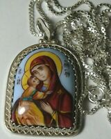 Russian 925 Sterling Silver+Chain Vladimirovskay  Mother of God Enamel