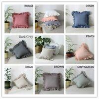 Throw Pillow Cover Cushion Case Ruffle Cotton Soft Sofa Chair Bed HomeDecor 45cm