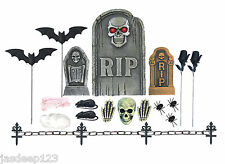 24 Piece Tombstone Graveyard Set Halloween Party Props Decorations Skull Bone
