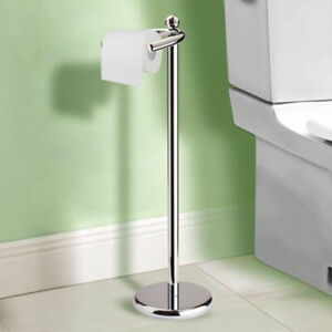 Bathroom Free Standing Chrome Toilet Paper Holder with Weighted Base Holders New
