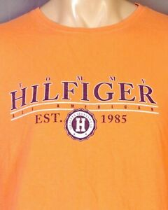 vintage 90s Tommy Hilfiger Bright Orange Spell Out Logo T-Shirt Crest sz XXL