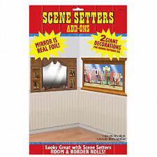 Wild West Saloon Bar Mirror & Window Party Scene Setter Add-on Decoration Set