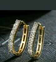 14Carat Yellow Gold Finish 0.50Ct Round Brilliant Cut Diamond Hoop Earrings