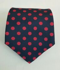 J Press Blue & Red Polka Dot Circles Silk Necktie Neck Tie 58L 3.75W