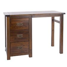 Single Pedestal Dressing Table Dark Wood Baltia Solid Wood Bedroom Furniture