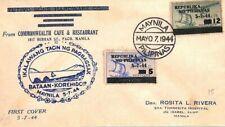 PHILIPPINES WW2 Cover Air Mail Manilla *BATAAN-KOREHIDOR* Flight 1944 BN144